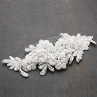 Top Selling White Beaded Lace Applique Wedding Comb