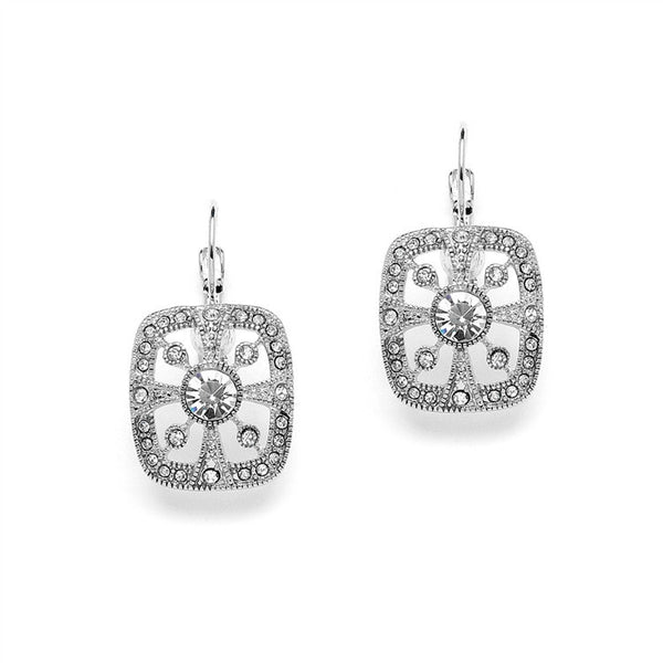 Dainty Art Deco Crystal Drop Earrings Prom or Bridesmaids-Earrings-Here Comes The Bling™