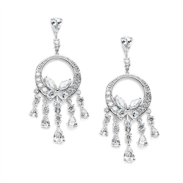 Dainty Cubic Zirconia Chandelier Earrings-Earrings-Here Comes The Bling™