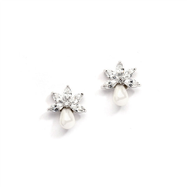 Dainty CZ Bridal Earrings with Freshwater Pearls-Earrings-Here Comes The Bling™