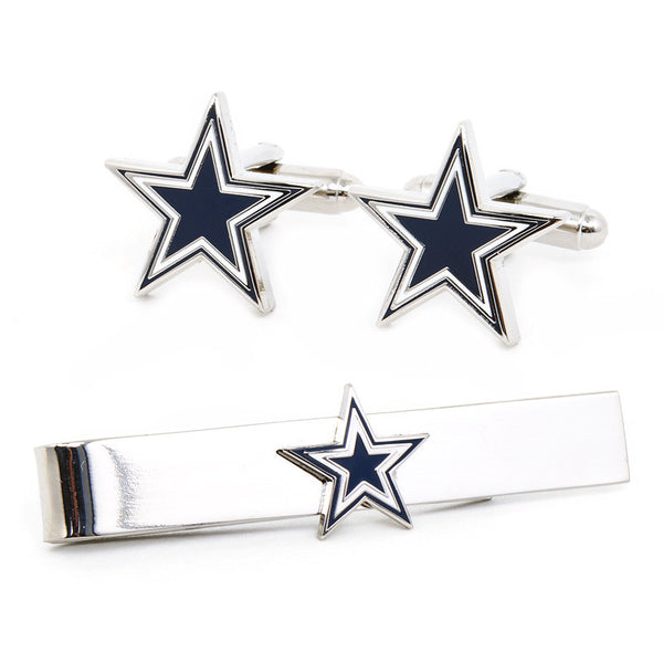 Dallas Cowboys Cufflinks and Tie Bar Gift Set-Mens 3 Piece Gift Set-Here Comes The Bling™