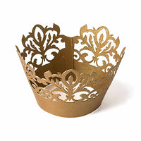 Damask Gold Shimmer Cupcake Wrappers (Pack of 12)-Cake Toppers-Here Comes The Bling™