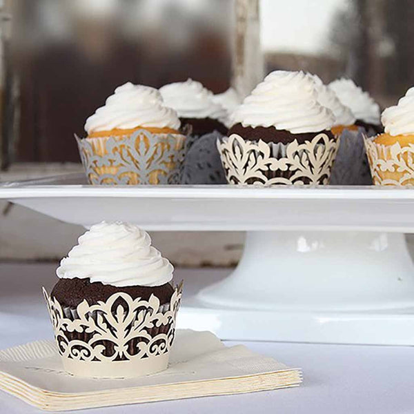 Damask Ivory Shimmer Cupcake Wrappers (Pack of 12)-Cake Toppers-Here Comes The Bling™