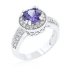 Dark Purple Halo Engagement Ring-Rings-Here Comes The Bling™