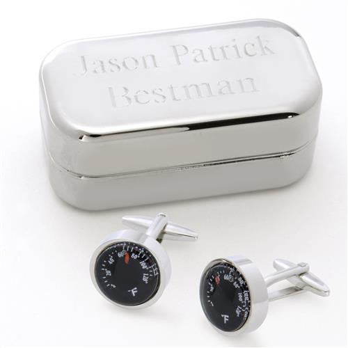 Dashing Cuff Links with Personalized Case - THEMOMETER-Cufflinks-Here Comes The Bling™