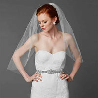 Classic Waist or Elbow Length Single Layer Cut Edge Wedding Veil