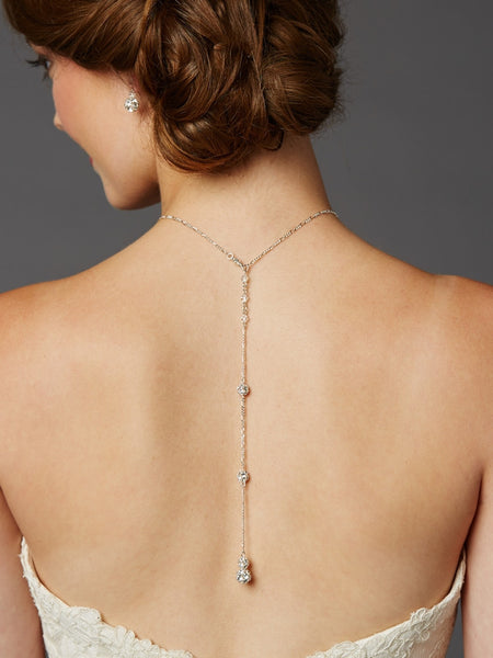 Delicate Back Necklace with Spectacular Austrian Crystal Rhinestone Fireballs-Back Necklace-Here Comes The Bling™