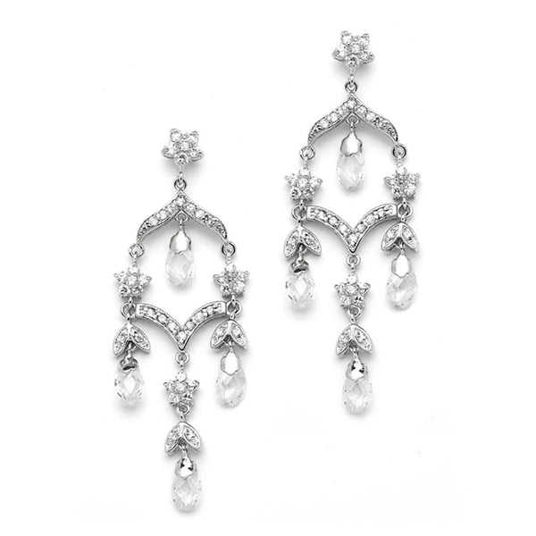 Delicate Bridal Chandelier Earrings in Brilliant CZ & Crystal-Earrings-Here Comes The Bling™
