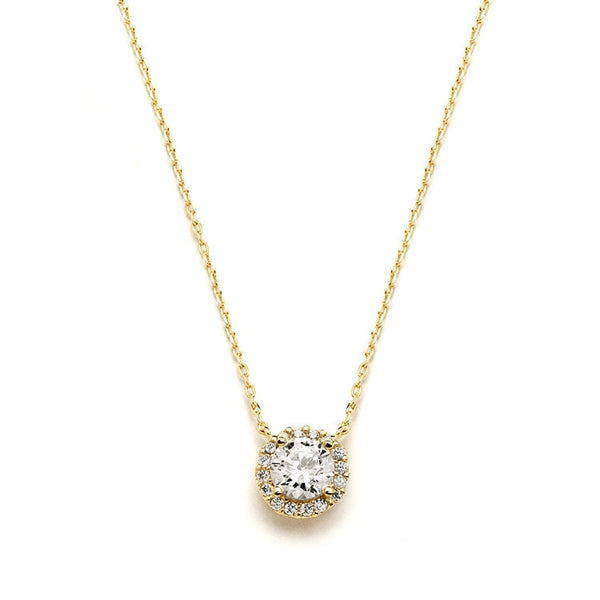 Delicate Cubic Zirconia Gold Pave Bridal Necklace-Necklaces-Here Comes The Bling™