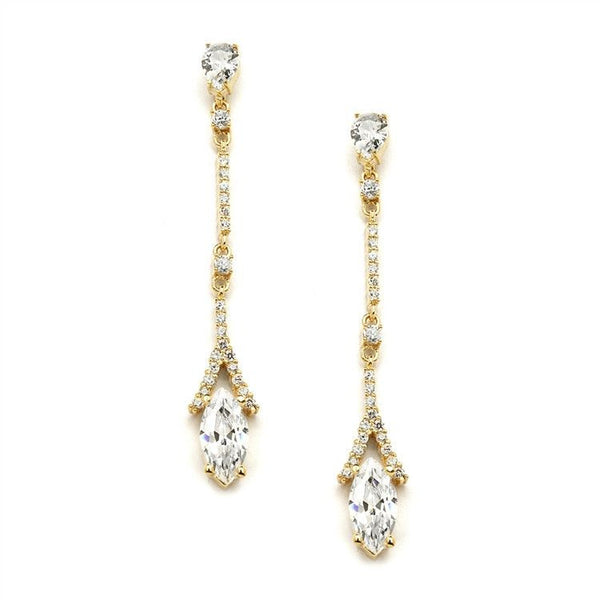 Delicate Cubic Zirconia Linear Wedding or Bridesmaids Earrings in Gold-Earrings-Here Comes The Bling™