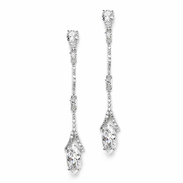 Delicate Cubic Zirconium Linear Wedding or Bridesmaids Earrings-Earrings-Here Comes The Bling™