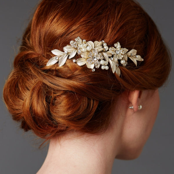 Designer Bridal Hair Comb with Hand Painted Gold Leaves and Pave Crystals-Combs-Here Comes The Bling™
