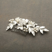 Designer Bridal Hair Comb with Hand Painted Silver Leaves and Pave Crystals-Combs-Here Comes The Bling™