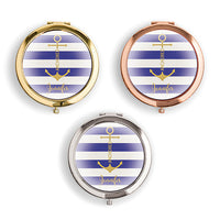 Designer Compact Mirror - Anchor On Stripes Print-Mirrors-Here Comes The Bling™