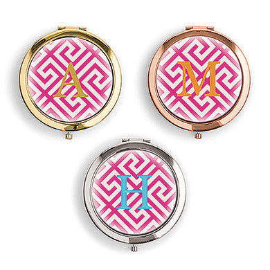 Designer Compact Mirror - Monogram On Greek Key Print-Mirrors-Here Comes The Bling™