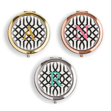 Designer Compact Mirror - Monogram On Trellis Print-Mirrors-Here Comes The Bling™