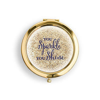 Designer Compact Mirror - Sparkle Shine Print-Mirrors-Here Comes The Bling™