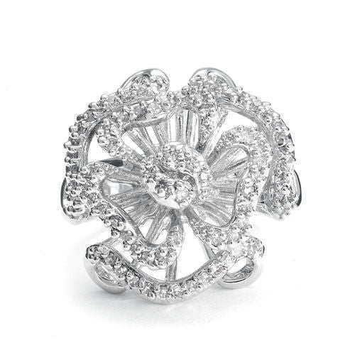Designer Etched Rose Ring with Dainty CZ Inlay-Rings-Here Comes The Bling™