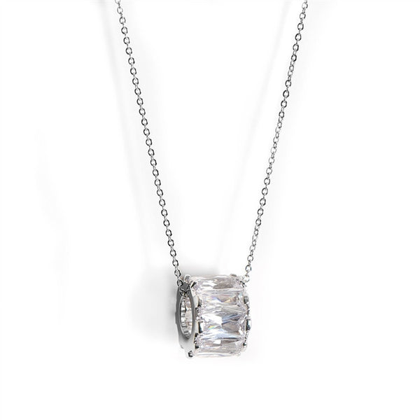 "Designer Floating ""Wedding Band"" Pendant with CZ Baguettes-Necklaces-Here Comes The Bling™"