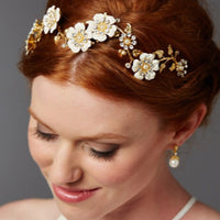 Designer Hand-Enameled Blossom Golden Headband-Headband-Here Comes The Bling™