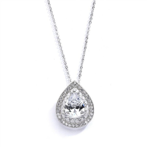 Designer Micro Pave Cubic Zirconia Bridal or Mother of the Bride Pendant-Necklaces-Here Comes The Bling™