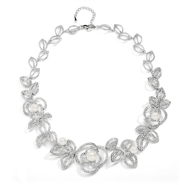 Designer Wedding Necklace with Cubic Zirconia and Pearl Flowers-Necklaces-Here Comes The Bling™