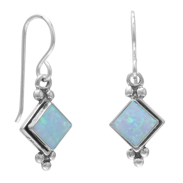 Diamond Blue Opal French Wire Earrings-Earrings-Here Comes The Bling™