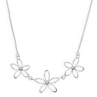 Diamond Cut Flower Necklace-Necklaces-Here Comes The Bling™