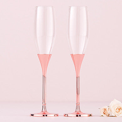Diamond Glitter Rose Gold Toasting Flutes