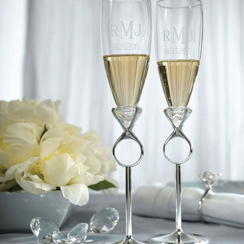 Diamond Ring Design Wedding Champagne Glasses-Toasting Flutes-Here Comes The Bling™