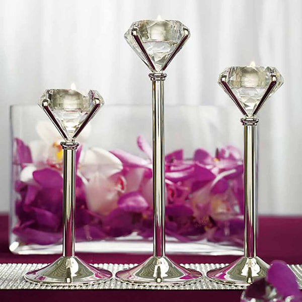 Diamond Shaped Tealight Holders (Set of 3 Assorted)-Decor-Candle Holder-Here Comes The Bling™