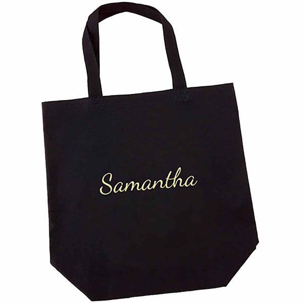 Diamond Team Bride Black Canvas Tote (Personalization Available)-Tote Bags-Here Comes The Bling™