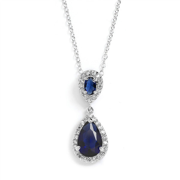 Diana Sapphire Cubic Zirconia Teardrop Wedding Pendant-Necklaces-Here Comes The Bling™