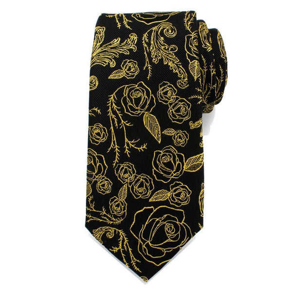 Disney's Beauty and The Beast - Floral Gold Rose Black Men's Tie-Tie-Here Comes The Bling™