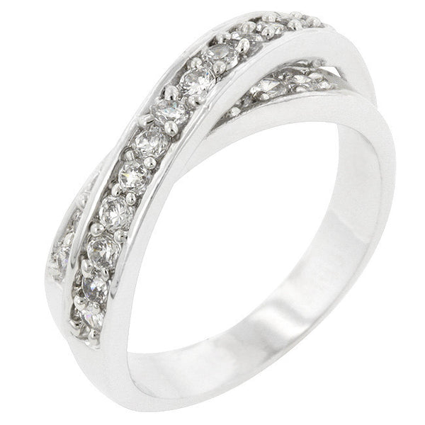 Double Cross Cubic Zirconia Ring-Rings-Here Comes The Bling™