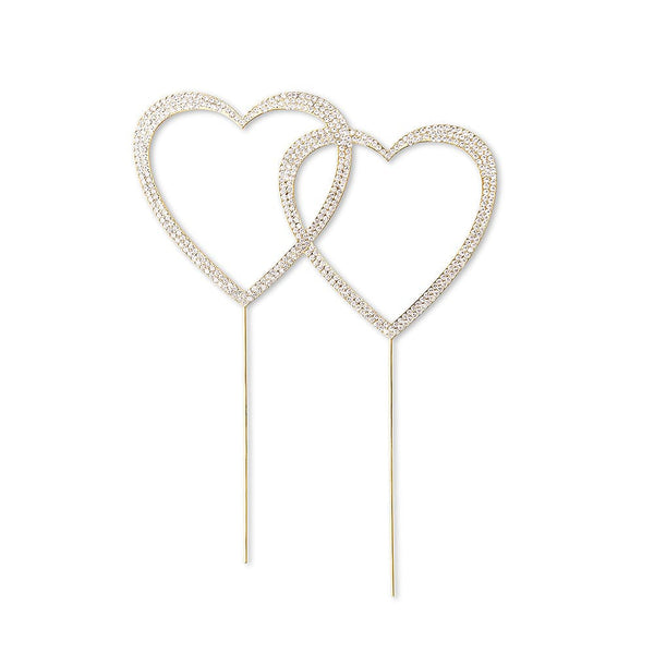 Double Heart Crystal Rhinestone Cake Topper in Gold-Cake Toppers-Here Comes The Bling™