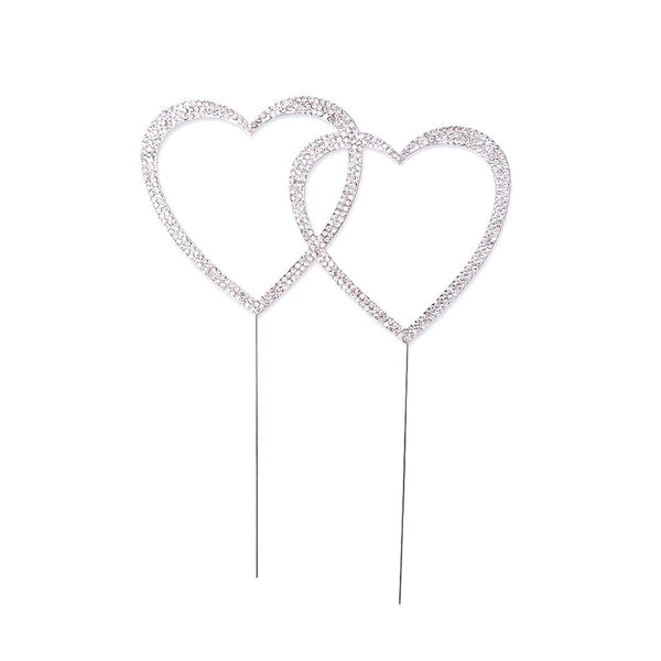Double Heart Crystal Rhinestone Cake Topper in Silver-Cake Toppers-Here Comes The Bling™