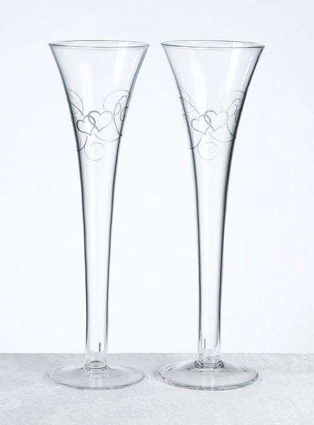Double Heart Flutes-Toasting Flutes-Here Comes The Bling™