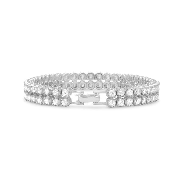 Double Row 4mm CZ Silver Tennis Bracelet-Bracelets-Here Comes The Bling™