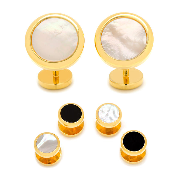 Double Sided Gold Mother of Pearl Round Beveled Stud Set-Tux Stud Set-Here Comes The Bling™