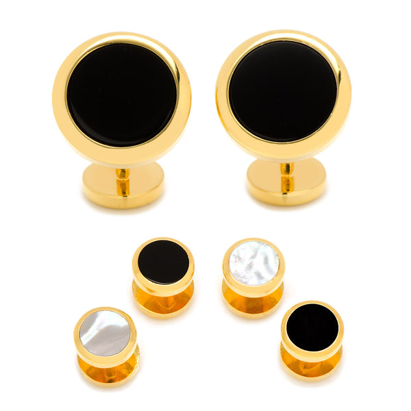 Double Sided Gold Onyx Round Beveled Stud Set-Tux Stud Set-Here Comes The Bling™