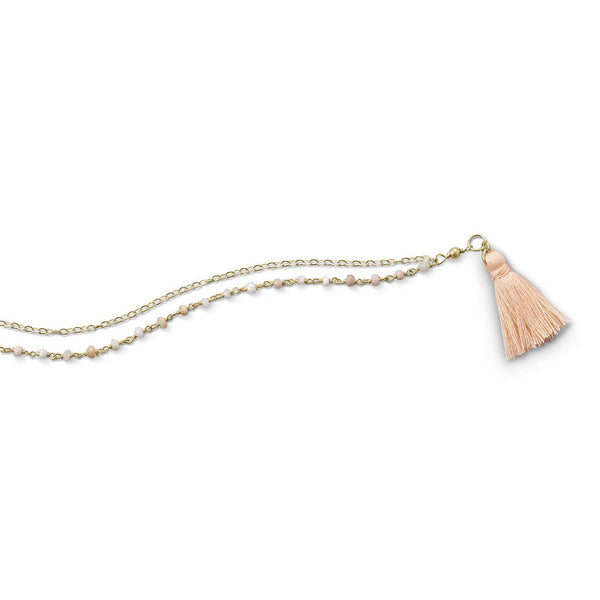 Double Strand Bracelet with Pink Opal and Tassel-Bracelets-Here Comes The Bling™