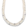 Double Strand Ivory Pearl Necklace with CZ Spheres-Necklaces-Here Comes The Bling™