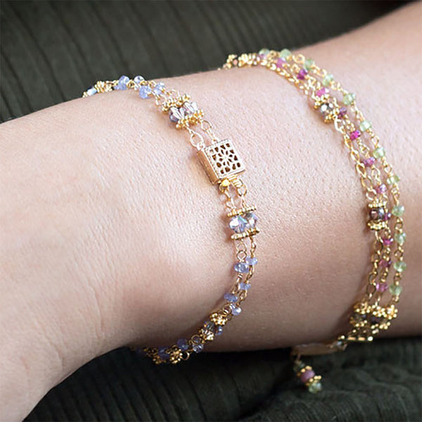 Double Strand Tanzanite and Citrine Bracelet-Bracelets-Here Comes The Bling™