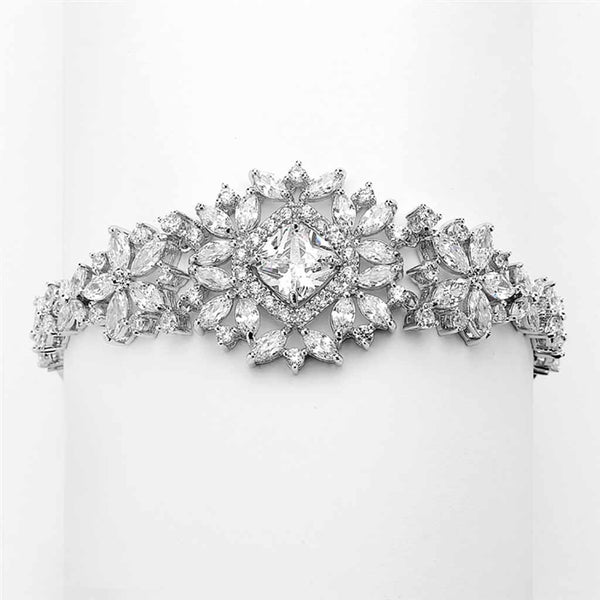 Dramatic CZ Bridal Bracelet with Cushion Cut Center-Bracelets-Here Comes The Bling™