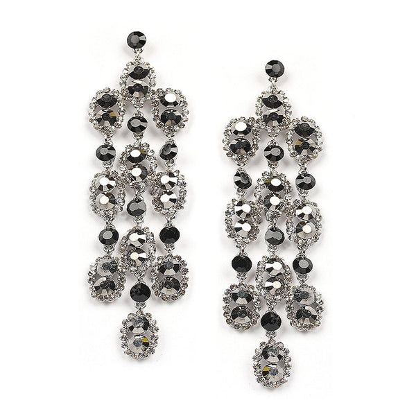 Dramatic Hematite Shoulder Duster Earrings-Earrings-Here Comes The Bling™