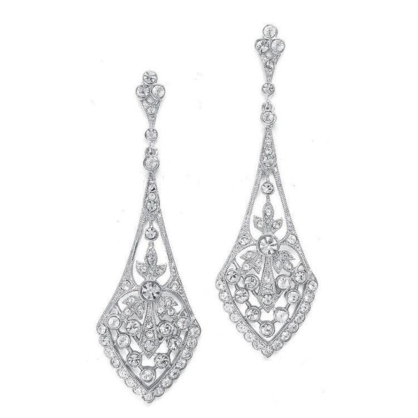 Dramatic Rhodium Silver Vintage CZ Earrings-Earrings-Here Comes The Bling™