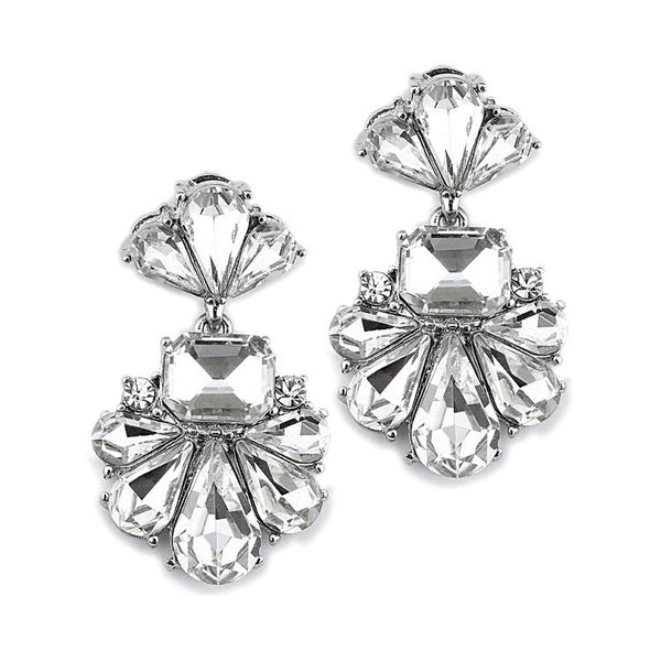 Dramatic Silver Icy Pear Cluster Statement Earrings for Wedding or Prom-Earrings-Here Comes The Bling™