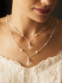 Draped Figaro Chain Teardrop Back Necklace for Bridal or Prom-Back Necklace-Here Comes The Bling™