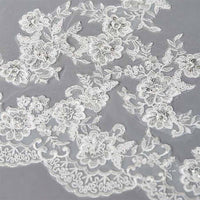 Embroidered Cathedral Mantilla Wedding Veil with Dramatic Beaded Lace Edge